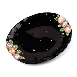 ATD - 16.5 Inch Large Black Serving Platter with Colorful Floral Design - This gorgeous 16.5 inch large black serving platter with colorful floral design has the finest details and highest quality you will find anywhere! 16.5 inch large black serving platter with colorful floral design is truly remarkable.