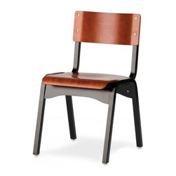 """Holsag - Carlo Stacking Wood Chair in Black and Cherry - The perfect chair for any student, the back and seat of this chair have a wood grained finish and sturdy metal frame. Great for kitchens as well. Used in schools and training centers through the United States. They're stackable, too, for greater convenience in large-scale settings and special gatherings. Take a seat in one of these wood two-tone finish chairs. * Wood stained seat and back and black metal frame """"two tone"""" model. Elaborate 9-Step finishing process - Hand Stained Wood Finish, slight variations in color may occur. Value priced, durable. Attractively designed wood stackable Chairs. 18 W x 18 D x 32 H in. x 18 in. Seat Height"""