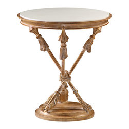"""Inviting Home - French Style Stone-Glass Top Table - French style carved wood occasional table with arrow motif antique rubbed gold leaf finish and matte finish white stone-glass top; 21"""" x 23-1/4""""H hand-crafted in Italy Early 19th century French style carved wood occasional table with arrow motif. Table has antique rubbed gold leaf finish. French style table is made with matte finish white stone-glass top. Louis XV table is hand-crafted in Italy."""