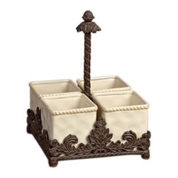 GG Collection - The GG Collection Ceramic and Metal Flatware Caddy - The GG Collection Ceramic and Metal Flatware Caddy