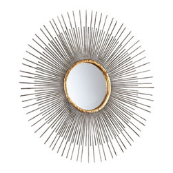 """Cyan Design - Contemporary Small Pixley 18"""" Round Antique Silver Wall Mirror - Easily add elegance to a dining room living room bathroom bedroom or hallway with the Pixley wall mirror. The sunburst design features an antique silver leaf finish with vibrant gold finish gilded accents. Alternating short and long rays are hypnotizing and provide even more visual interest to this already stunning accent mirror. Iron construction. Antique silver leaf finish. Gold finish gilded accents. 18"""" round. Mirror glass only is 5"""" round 1/2"""" deep.  Iron construction.   Antique silver leaf finish.   Gold finish gilded accents.   18"""" round.   Mirror glass only is 5"""" round 1/2"""" deep."""