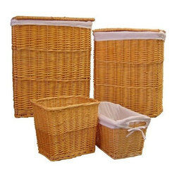 Organize It All - Honey Willow Hamper Set - Beautiful and sturdy willow bath set Comes in a set of four with large and small hamper, a waste basket, and a small basket. Liners for easy removal and cleaning. Warm color to match your style. Solve your clothing clutter and storage dilemmas while keeping everyday necessities within reach.