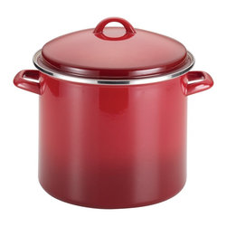 Rachael Ray - Rachael Ray Enamel on Steel 12-quart Red Gradient Covered Stockpot - Boil two pounds of penne or make a double batch of the family's favorite soup or stew with the Rachael Ray Enamel on Steel 12-quart Covered Stockpot. Designed for durability,this large pot features carbon steel construction.