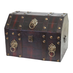 Antique Pirate Treasure Chest with Lion Rings - Our warm and welcoming steamer trunk brings back days of old time. Remember how excited you are when you were a little kid to look into your grandma's old chest, our decorative trunks will bring back those memories and help you create some new ones too. Our hope chest boxes are all handcrafted and tailored to enhance the existing decor of any room in the home. Great to use for your very own treasure chest!