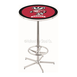 "Holland Bar Stool - Holland Bar Stool L216 - 42 Inch Chrome Wisconsin Inchbadger Inch Pub Table - L216 - 42 Inch Chrome Wisconsin  Inchbadger Inch Pub Table  belongs to College Collection by Holland Bar Stool Made for the ultimate sports fan, impress your buddies with this knockout from Holland Bar Stool. This L214 Wisconsin ""Badger"" table with round base provides a commercial quality piece to for your Man Cave. You can't find a higher quality logo table on the market. The plating grade steel used to build the frame ensures it will withstand the abuse of the rowdiest of friends for years to come. The structure is triple chrome plated to ensure a rich, sleek, long lasting finish. If you're finishing your bar or game room, do it right with a table from Holland Bar Stool.  Pub Table (1)"