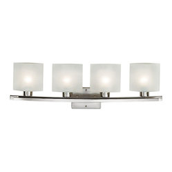 "Possini Euro Design - Possini White Linen Glass 32"" Wide Bathroom Light Fixture - Express your contemporary style with this beautiful Possini Euro Design light fixture. The design features a twin bar in a brushed steel finish. The sleek steel is offset by four squares of white linen glass. Takes four 100 watt bulbs (not included). 32"" wide. 9 1/2"" high. Extends 5 1/2"" from the wall. Backplate is 4 1/2"" high 6 1/4"" wide.  Brushed steel finish.  White Linen glass.  From Possini Euro Design.  Takes four 100 watt bulbs (not included).   32"" wide.   9 1/2"" high.   Extends 5 1/2"" from the wall.   Backplate is 4 1/2"" high 6 1/4"" wide."