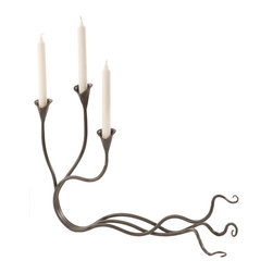 Stone County Iron Works - Windswept Natural Black Candleholder 3 Candles - Stone County Iron Works 901-662 Windswept Natural Black Lodge/Rustic Candleholder