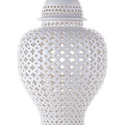 Z Gallerie - Ceramic Filigree Jar - Our Porcelain Filigree Urn is crafted of fine porcelain ceramic, with the classic form of a ginger jar. The surface of the urn is hand-carved in an intricate cutout pattern, topped with a refreshing glossy white glaze. Available also in Green and French Blue. With a removable lid, the urn measures 12.5Dia x 23.25H.