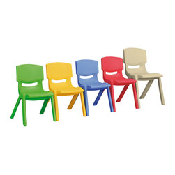 """Ecr4kids - Ecr4Kids Classroom Plaroom 12"""" Resin Chair Green, 6 Pack - Comfortable, one-piece, molded resin chairs that will hold as much seated weight as hardwood chairs Colorful resin chairs that will hold as much seated weight as hardwood chairs. Comfortable, one-piece, uni-body design chairs contour the child to promote healthy posture. Every chair features a fade-resistant, thermoplastic construction of solid 100% Polypropylene that will not crack, chip or peel, as well as a vented back and smooth, rounded edges for safety. Available in 5 soft tone colors and 5 seat heights."""