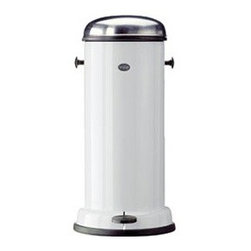 Vipp 16 Pedal B in White - Looking for a great looking trash can? This is a classic Danish design from the thirties which is still stunning and functional. A rubber seal keeps odors in the can which is a big plus. We design trash cans in cabinets but in kitchens where that isn't an option this is a great alternative.
