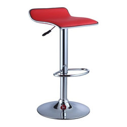"""Powell - Faux Leather Thin Seat Adjustable Height Bar Stool in Red (Set of 2) - The Thin Seat Bar Stool is a unique, contemporary addition to your home. The backless curved faux leather seat, round sturdy footrest and height adjustable lever provides both style and function. An eye-catching, versatile red and chrome easily complements your home's existing decor. Seat adjusts with a gas-lift mechanism. 300 pound weight capacity. BIFMA 5.1 and EN1335 Standard testing passed and approved. Some assembly required. Features: -Red faux leather seat. -Chrome frame. -Unique contemporary design. -Height adjustable seat with gas lift . -BIFMA 5.1 and EN1335 standard testing passed and approved. -300 Pound weight capacity. -Assembly required. -Dimensions: 26""""-34.25"""" Height x 14.75"""" Width x 13.5"""" Depth."""
