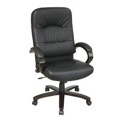 Office Star - Eco Leather High Back Chair w Espresso Wood B - Thick padded contour seat and back with built-in lumbar support. One touch pneumatic seat height adjustment. Locking tilt control with adjustable tilt tension. Padded wood arms. Top grain eco leather (-3) black. Espresso finish wood covered steel base with dual wheel carpet casters. Seat dimensions: 21 in. W x 19.5 in. D x 4 in. T. Back dimensions: 21 in. W x 27 in. H x 4 in. T