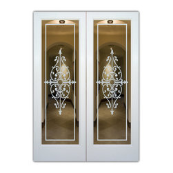 "Interior Glass Doors - Frosted Glass - Barcelona - CUSTOMIZE YOUR INTERIOR GLASS DOOR!  Interior glass doors or glass door inserts.  .Block the view, but brighten the look with a beautiful interior glass door featuring a custom frosted glass design by Sans Soucie!  ship for just $99 to most states, $159 to some East coast regions, custom packed and fully insured with a 1-4 day transit time.  Available any size, as interior door glass insert only or pre-installed in an interior door frame, with 8 wood types available.  ETA will vary 3-8 weeks depending on glass & door type........  Select from dozens of sandblast etched obscure glass designs!  Sans Soucie creates their interior glass door designs thru sandblasting the glass in different ways which create not only different levels of privacy, but different levels in price.  Bathroom doors, laundry room doors and glass pantry doors with frosted glass designs by Sans Soucie become the conversation piece of any room.   Choose from the highest quality and largest selection of frosted decorative glass interior doors available anywhere!   The ""same design, done different"" - with no limit to design, there's something for every decor, regardless of style.  Inside our fun, easy to use online Glass and Door Designer at sanssoucie.com, you'll get instant pricing on everything as YOU customize your door and the glass, just the way YOU want it, to compliment and coordinate with your decor.   When you're all finished designing, you can place your order right there online!  Glass and doors ship worldwide, custom packed in-house, fully insured via UPS Freight.   Glass is sandblast frosted or etched and bathroom door designs are available in 3 effects:   Solid frost, 2D surface etched or 3D carved. Visit our site to learn more!"