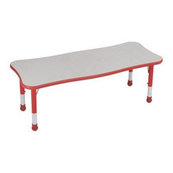 Brite Kids 71 x 30 in. Adjustable Rectangular Table - The Brite Kids 70 x 30 in. Adjustable Rectangular Table is ideal for bringing bright color and functional furniture into any early childhood environment. This table features a sturdy laminate top in a variety of colors - it's easy to wipe down for quick sanitation. Sturdy steel legs are fitted with round plastic boots to protect floor surfaces. Features innovative and adorable slightly scalloped sides that make chair placement clear and offer a more comfortable spot for kids. Plastic edging is T-molded with a barbed insert to prevent separation from the laminate. This table is height adjustable from 14.5 to 24.5 inches in 1-inch increments to accommodate all ages.