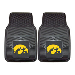 Fanmats - Fanmats Iowa 2-piece Vinyl Car Mats - Keep your vehicle in tiptop condition with these vinyl car mats by Fanmats. Emblazoned with the logo of your favorite Iowa team, these durable mats allow quick cleanups of spilled drinks and snacks as you drive down to the next game.