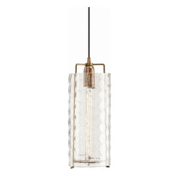 Arteriors - Ice Large Pendant - This clear glass hand faceted cylinder pendant with one light was designed by Laura Kirar. The solid brass fitting was inspired by a vintage pendant. Takes one 25 watt bulb.
