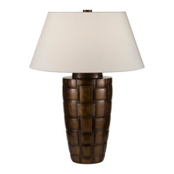 Fine Art Lamps - Recollections Bronze Table Lamp, 830010-2ST - The look of woven fibers meets the supple sheen of metal in this timeless table lamp. The beautifully proportioned base is finished in a variegated bronze patina or silver leaf, and is topped by a beige laminated shade that conceals a three-way switch for maximum lighting flexibility.