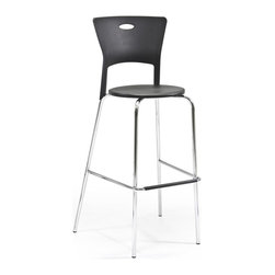 Lumisource - Black Mimi Bar Stool - Set of 2 - Contemporary design. 22 in. W x 18 in. D x 44.75 in. H. Seat height is 31.5 inches. Includes pair of barstools. Sturdy chrome frame. Reinforced polypropylene seat and back area. Easy to AssembleThe stackable barstools will add a splash of contemporary flair to your bar or kitchen area. Stackable design and light-weight frame.