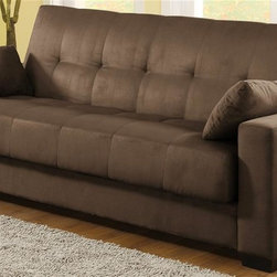 Lifestyle Solutions - Napa Convertible Sofa Bed in Java Microsuede - Includes two matching pillows. Multi-positional and convertible sofa bed. Stylish and versatile. Unique click-clack mechanism locks into sofa, lounge and bed position in seconds. Comfortably sleeps up to two people. Large storage area hidden below seat cushion. Microsuede fabric cover. High elasticity cushion foam with polyfiber layered top. Hardwood frame with sturdy wooden legs. Minimal assembly required. Sitting Position: 77.95 in. L x 35 in. W x 34 in. H (Seat Height: 16.14 in.). Sleeping Position: 77.95 in. L x 48.03 in. W x 16.14 in. H