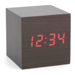 Kikkerland Clap-On Cube Alarm Clock, Dark Wood - This is a simple cube with nothing but numbers. It will keep your bedside table clean and fresh.