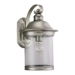 Seagull - Seagull Hermitage Outdoor Wall Mount Light Fixture in Antique Brushed Nickel - Shown in picture: 88082-965 One Light Antique Brushed Nickel Lantern in Antique Brushed Nickel finish with Clear Glass