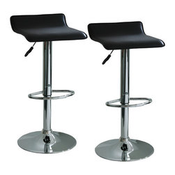 "Buffalo Tools - Amerihome Height Adjustable Bar Stools (Set of 2) - Amerihome 2-piece Adjustable Height Bar Stools brings a touch of the casual contemporary to complete any room. The textured vinyl seat is ideal for kitchen spaces as well as bars, game rooms, and basements. The sleek polished chrome base with foot rest is unobtrusive and allows for comfortable leg room. The padded seat is designed for comfort. All these features create an idyllic bar stool for all ages Features: -Amerihome collection. -Finish: Black. -Material: Vinyl. -Square padded. -Seat swivels 360 degrees. -Manufacturer provides 90 day limited warranty. -Weight capacity: 200 lbs. Dimensions: -Maximum seat back height of 33.5 in.. -Adjustable seat height from 21.5"" to 29.5"". -33.5"" H x 15.5"" W x 15"" D, 13 lbs."