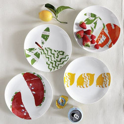 Fruit Dessert Plates - Colorful patchwork fruits are ripe for the picking on white porcelain.