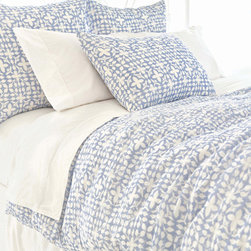 Pine Cone Hill - veena duvet cover (blue) - Escape to a serene cottage getaway and slip beneath the perfectly patterned covers of our strawberry hill collection featuring delicate pastels, soft linens and casually embellished pillows blending unique patterns and textures with soothing colors in subtle, comforting harmony.  Florals and paisley, pale solids and subtle dots soften the plush appearance of our duvet covers, quilts and shams to create a well-tailored bedroom.