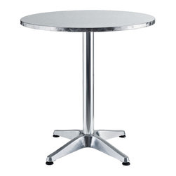 "East End Imports - 27.5"" Round Polished Aluminum Cafe Table - A curved polished aluminum form takes you to the edge of possibility and beyond with inestimable craftsmanship and elegance."