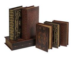 iMax - Monte Cassino Book Box Collection, Set of 6 - Traditional hinged Monte casino book box collection.