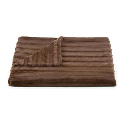 Lux Channel Stripe Chocolate Rosebud Throw