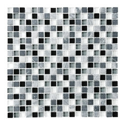 Bliss Midnight Stone and Glass Square Mosaic Tiles, 10 Square Feet - A well balanced blend of black, gray and white glass interlaced with a nice mix of gray stone. A great choice for a kitchen or bathroom in need of a nice cool neutral tile. Also available in a random strip linear mosaic tile blend.