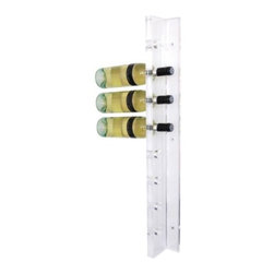 "Gus Modern - Acrylic Wine Rack by Gus Modern - A clearly elegant solution for storing wine. The Gus Modern Acrylic Wine Rack is a wall-mounted wine rack that holds up to eight bottles. It is made out of 1"" thick panels of Clear acrylic that have been flame-polished for maximum clarity and smoothness. An invisible UV-cured joining adhesive and included mounting hardware ensure the finished piece's durability. Mid-century modern design interpreted with an industrial edge. Such is the modis operandi of Gus* Modern. Every accessory, sofa, sectional, chair and table they design is inspired by simple forms and honest materials. The resulting modern furniture pieces are clean, elegant and versatile, with crisply tailored upholstery and solid, eco-friendly FSC-certified wood frames. Founded in 2000, Gus* Modern is based in Toronto, Ontario, Canada."