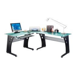 Techni Mobili - Techni Mobili L-Shape Frosted Glass Metal Base Computer Desk in Graphite - Techni Mobili - Computer Desks - RTA3803GPH06 - More space means better work atmosphere! Multi-task with a dual monitor set up or use a laptop with your PC. A speaker stand mobile CPU platform and sliding keyboard tray save space to you have room for the printer scanner or extra monitor! All of these on a frosted glass table top and beautiful graphite finish.Features: