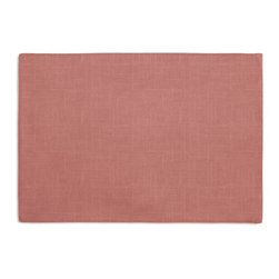 Warm Pink Lightweight Linen Custom Placemat Set - Is your table looking sad and lonely? Give it a boost with at set of Simple Placemats. Customizable in hundreds of fabrics, you're sure to find the perfect set for daily dining or that fancy shindig. We love it in this luxurious lightweight linen blend with characteristic slubs in dusty salmon pink.  linen cotton blend will resist wrinkles.