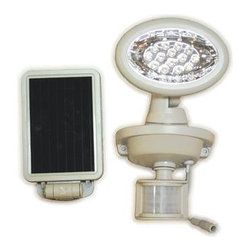 Maxsa Innovations - Solar Security Spotlight 14 LEDs - Motion-Activated 14 LED Security Spotlight is Perfect for entryways, walkways, sheds, patios, balconies, decks, steps, garages, driveways, carports, and backyard and farm sheds. Also great for RVs and other areas where electricity is not available. 14 super bright LEDs create bright illumination in the coverage area.  Light automatically turns on when motion is detected at night for security, safety, and convenience.  Easy DIY installation. No wiring. No electrician needed.  Includes three 1.2V 900 mAh AA rechargeable batteries.  Adjustable motion sensor detects motion up to 25 feet away within a 180 degree detection area.  9 foot cable allows ideal location for solar panel and lets you mount the light inside, if desired.  Uses free energy from the sun.  Time, motion sensitivity, and LUx (daylight sensitivity) adjustments.  Light can activate up to 180 times when on for 1 minute at a time.  Durable weatherproof housing.  Off-white finish.