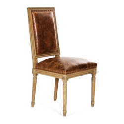 Louis Side Chair - Natural Oak with Top Grained Leather Jute - With clean, squared lines that exhibit a geometric taste seldom found in French-inspired traditional furniture, the Louis Side Chair is nevertheless an unmistakable luxury for living, dining, or bedrooms, as the classic ornamentation of the chair's frame is richly detailed and elegantly composed.  Plushly appointed upholstery fills the rectangular back and comfortable molded seat.