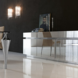 "Cattelan Italia Sideboard Prisma Mirrored Doors - $5,598.00 - Sideboard Prisma by Cattelan Italia. Made in Italy. Sideboard: W79"" x D20"" x H31""."