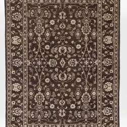 Rug Knots - Grey Silk Rug Hand Woven with Borders 6x8.9 - This rug's neutral colors make way for its stellar design. Impress guests with this intricate work of art, which features traditional Chobi Ziegler patterns in stunning symmetry. Diamonds, spirals, rosettes, and other geometric and natural shapes grace the body of this rug, which measures almost 9x6. This piece would look incredible next to a beige sofa or atop white marble -- its design is elegant yet casual, making it perfect for almost any space. The rug was hand-knotted at the RugKnots studio in Pakistan, meaning it's truly