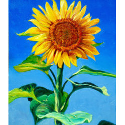 Sunflower (Original) by Joe Zona - I casually planted Sunflower seeds in the yard last Summer and a few came up with little or no TLC from me. I felt a little guilty because they all struggled to survive and were stunted. This one was really nice looking, but too small to impress anyone. So in this painting I made it bigger than life!
