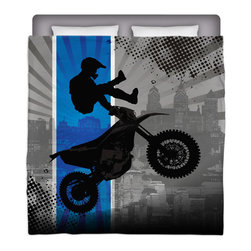 Extremely Stoked - Eco Friendly Made In USA Motocross Full/Queen Comforter - Get Extremely Stoked and Dream In Extreme With This Full/Queen Premium Comforter From Our Motocross Bedding and MX Bath Collection.