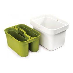 Joseph Joseph - Joseph Joseph Clean & Store, White/Green - This practical space-saving design comprises a removable storage caddy with space for a variety of cleaning paraphernalia, which fits neatly inside a large cleaning bucket. The caddy features a convenient carry handle, allowing you to transport cleaning products around the home, and twin cloth-holders. The bucket has a large carry handle, square, easy-pour corners and a handy helper handle on the base for controlled pouring. Available in white/green and grey/grey.