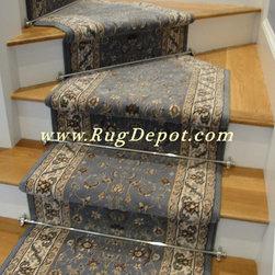 Dynamic Brillant Kashan Blue - Dynamic Brillant Kashan Blue 72284-920 Stair Runner with Stair Rods