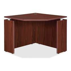 Lorell - Lorell Ascent Corner Desk - 36 Width x 36 Depth x 29.5 Height - Corner desk is part of the Lorell Ascent Series Laminate Furniture with contemporary-style laminate and raised floating tops. Mahogany laminate surface and side panels are 1 thick for durability as well as stain-resistant and scratch-resistant. The top is supported by aluminum brackets to provide the floating appearance. Use the grommet hole in the top for easy cord routing. Design also includes 3mm PVC edges (color-matched) and adjustable floor glides for stabilization.