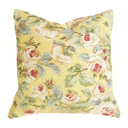 PillowThrowDecor - Spring Pillow Collection - Large Floral Pillows  26, 24 or 22 inch. Vintage style country rose in soft yellow, pink, red, green and sage green. Summer Cushion Covers by PillowThrowDecor,