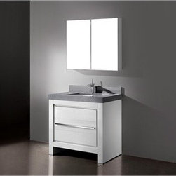 """Madeli - Madeli Vicenza 36"""" Bathroom Vanity with Quartzstone Top - Glossy White - Madeli brings together a team with 25 years of combined experience, the newest production technologies, and reliable availability of it's products. Featuring sleek sophisticated lines Madeli vanities are also created with contemporary finishes and materials. Some vanities also feature Blum soft-close hardware. Madeli also includes a Limited 1 Year Warranty on Glass Vessels, Basin, and Counter Tops. Features Base vanity with two soft-close drawers Glossy White finish Polished Chrome handle and leg finish 3""""H Quartzstone Countertops come in White or Soft Grey finish Quartzstone Countertops come with single faucet or 8"""" widespread faucet holes Ceramic undermount sink with overflow Faucet and drain are not included Backsplash included Matching mirror and medicine cabinet available Limited 1 Year Warranty on Glass Vessels, Basin, and Counter Tops How to handle your counter Spec Sheet Installation Instructions"""