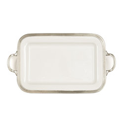 Arte Italica - Tuscan Rectangular Tray with Handles - Get a grip on the situation with this platter. It's fitted with handles to make carrying and serving your guests a breeze, whether filled with appetizers or cocktails. Made in Italy by hand of ceramic and pewter, each piece is one of a kind. As with all handcrafted items, slight variations in size and color are to be expected and celebrated.