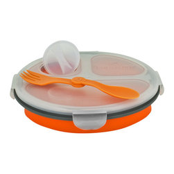 Smart Planet - Collapsable Eco Meal Kit - 3 Compartment, Orange - Colorful and smart, these bento boxes will keep your food perfectly contained. Each Collapsible Eco Meal Kit features three inner compartments, a condiment container, reusable utensil and lid. Expand for ample room, or collapse to half its size for space-saving storage. Either way, you'll be saving on valuable resources when you to choose to reuse!