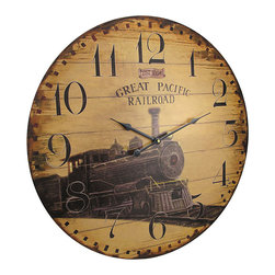 23 Inch Diameter Great Pacific Railroad Wall Clock - Made of wood, this gorgeous 23 inch diameter battery powered wall clock features an advertisement for the Great Pacific Railroad. The clock has a distressed, worn looking finish, but is actually brand new. It runs on one AA battery (not included). It makes a great gift for anyone who loves trains.
