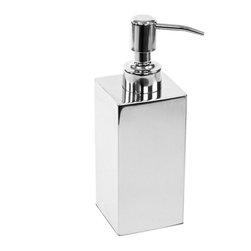 Gedy - Square Polished Chrome Soap Dispenser - Modern, decorative countertop square soap dispenser.